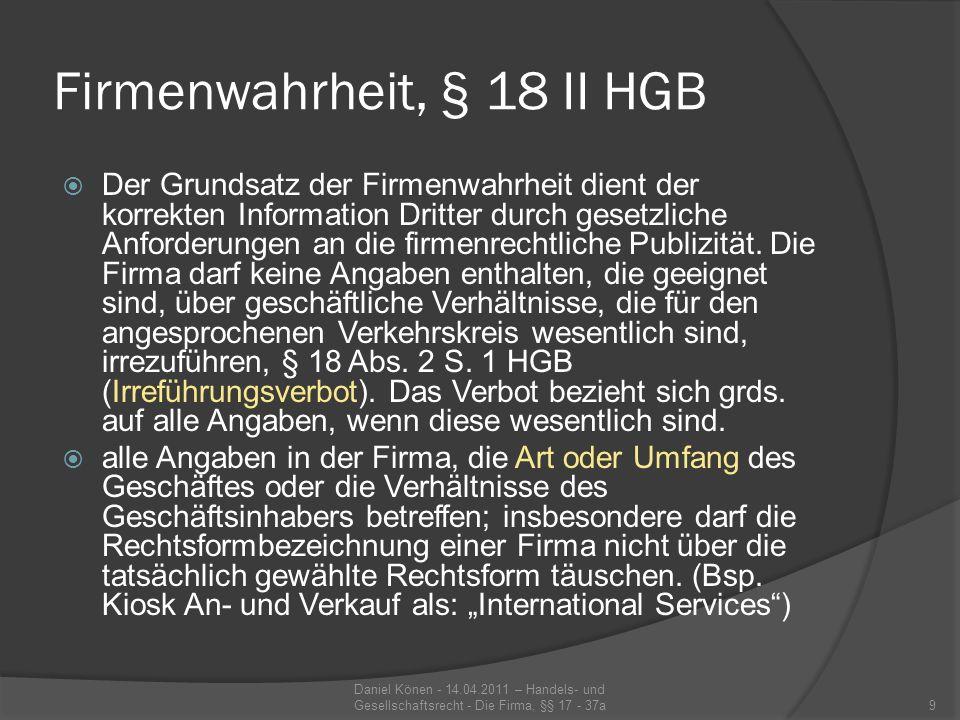 Firmenwahrheit, § 18 II HGB