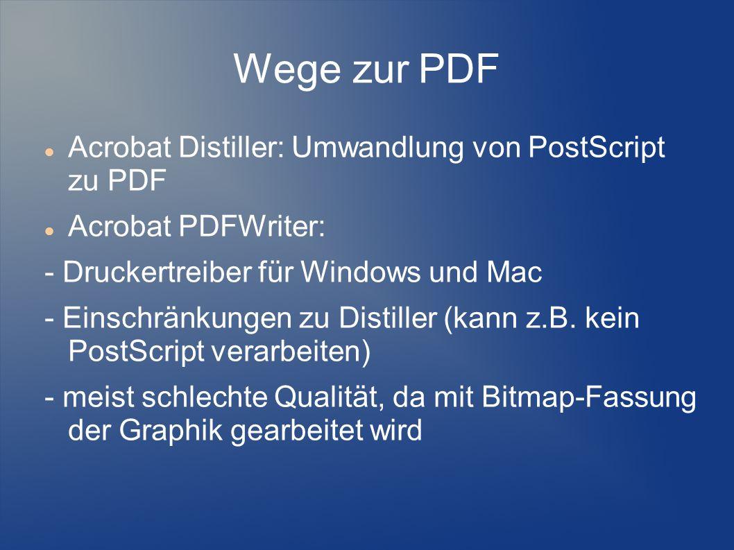 Wege zur PDF Acrobat Distiller: Umwandlung von PostScript zu PDF