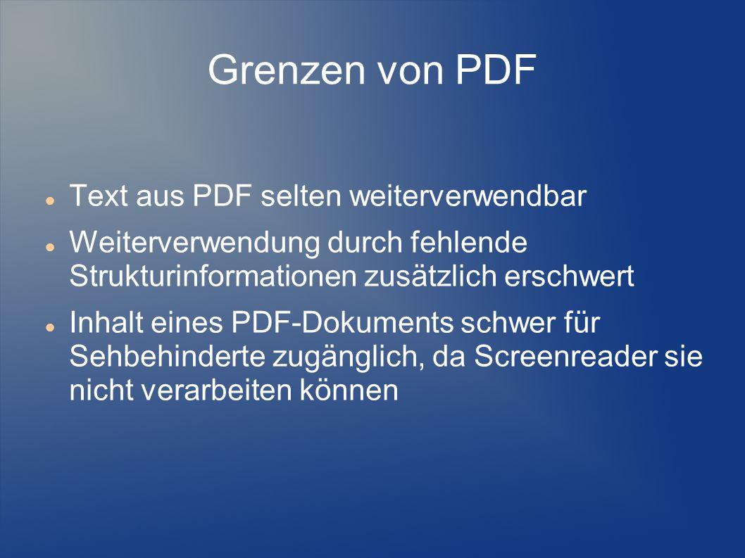 Grenzen von PDF Text aus PDF selten weiterverwendbar