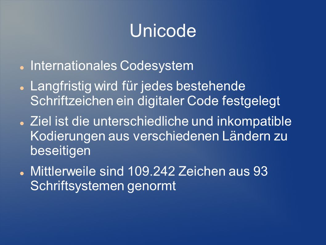 Unicode Internationales Codesystem