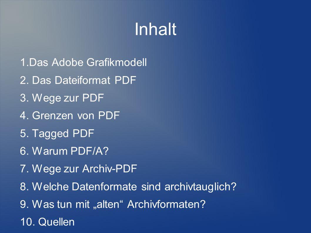 Inhalt 1.Das Adobe Grafikmodell 2. Das Dateiformat PDF 3. Wege zur PDF