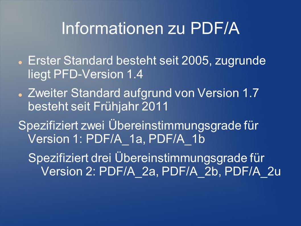 Informationen zu PDF/A