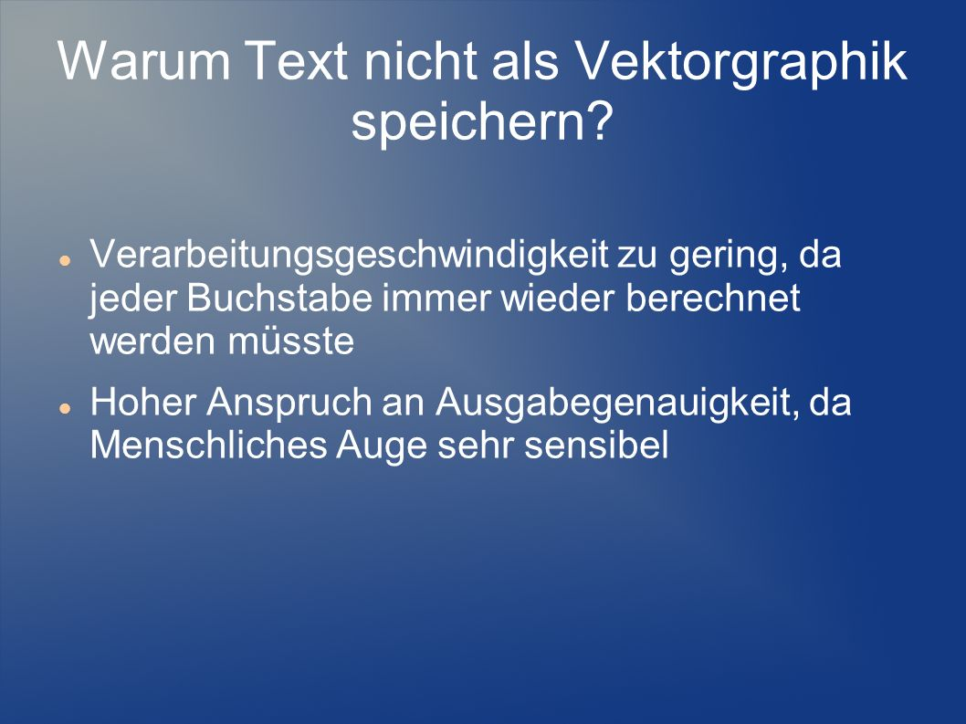 Warum Text nicht als Vektorgraphik speichern