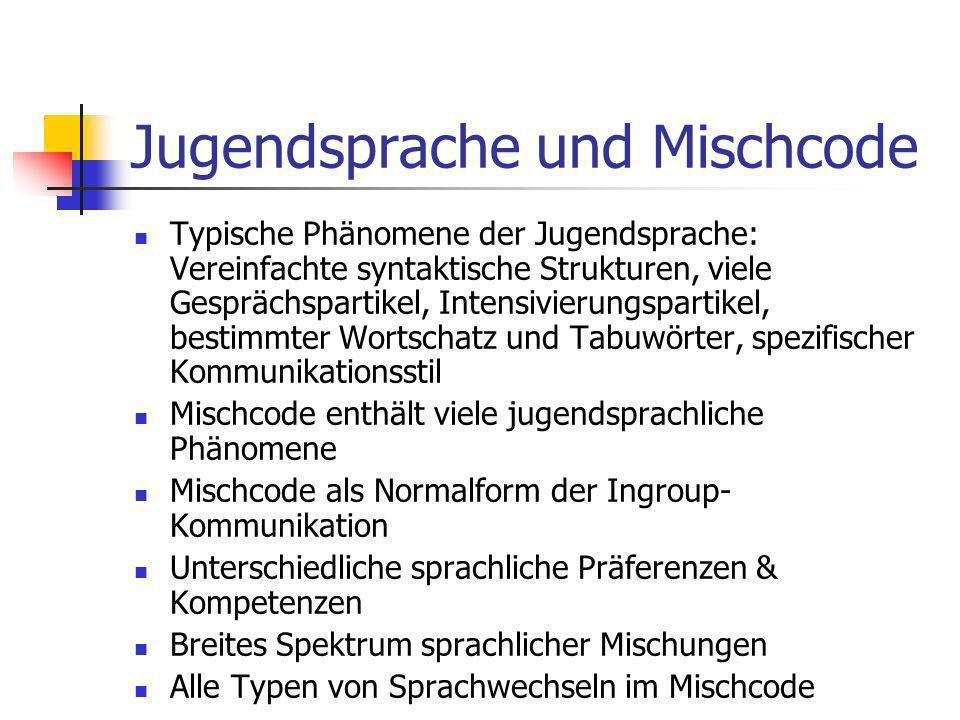 Jugendsprache und Mischcode