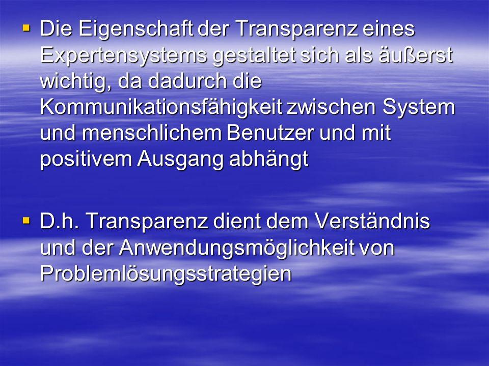 Die Eigenschaft der Transparenz eines Expertensystems gestaltet sich als äußerst wichtig, da dadurch die Kommunikationsfähigkeit zwischen System und menschlichem Benutzer und mit positivem Ausgang abhängt