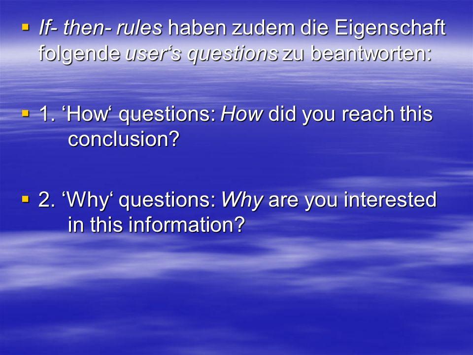 If- then- rules haben zudem die Eigenschaft folgende user's questions zu beantworten: