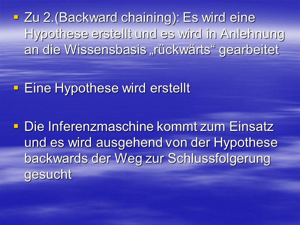 """Zu 2.(Backward chaining): Es wird eine Hypothese erstellt und es wird in Anlehnung an die Wissensbasis """"rückwärts gearbeitet"""
