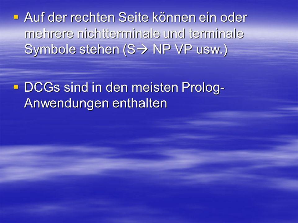 Auf der rechten Seite können ein oder mehrere nichtterminale und terminale Symbole stehen (S NP VP usw.)