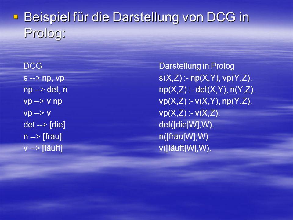 Beispiel für die Darstellung von DCG in Prolog: