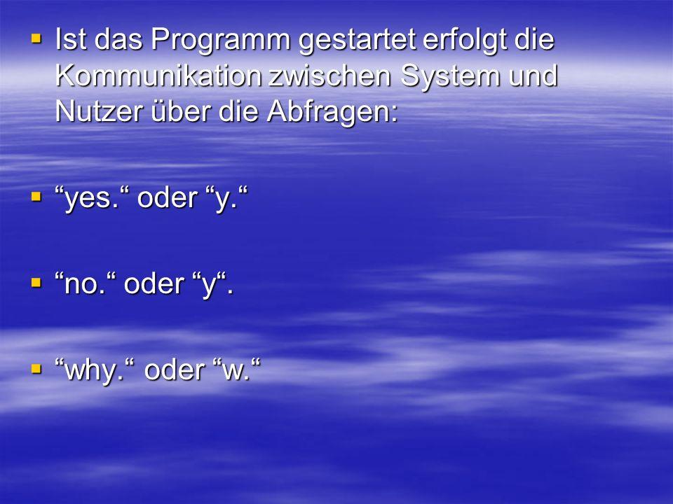 Ist das Programm gestartet erfolgt die Kommunikation zwischen System und Nutzer über die Abfragen: