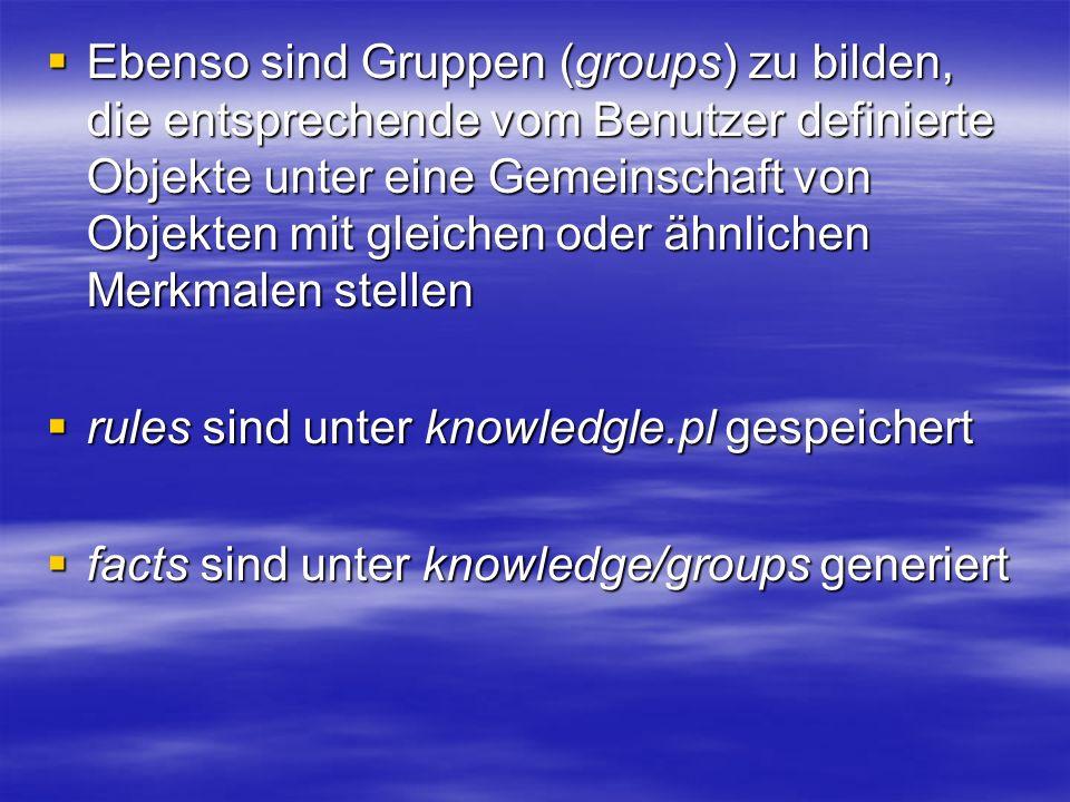 Ebenso sind Gruppen (groups) zu bilden, die entsprechende vom Benutzer definierte Objekte unter eine Gemeinschaft von Objekten mit gleichen oder ähnlichen Merkmalen stellen