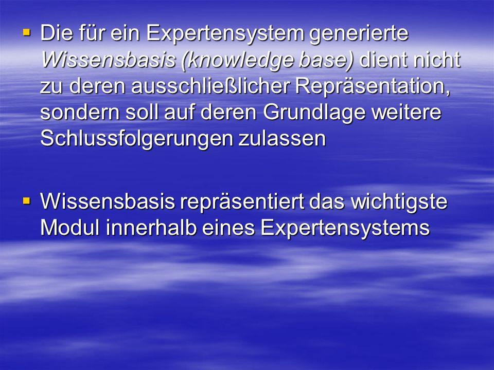 Die für ein Expertensystem generierte Wissensbasis (knowledge base) dient nicht zu deren ausschließlicher Repräsentation, sondern soll auf deren Grundlage weitere Schlussfolgerungen zulassen
