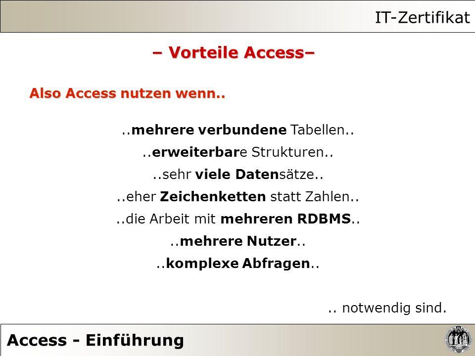 IT-Zertifikat – Vorteile Access– Access - Einführung