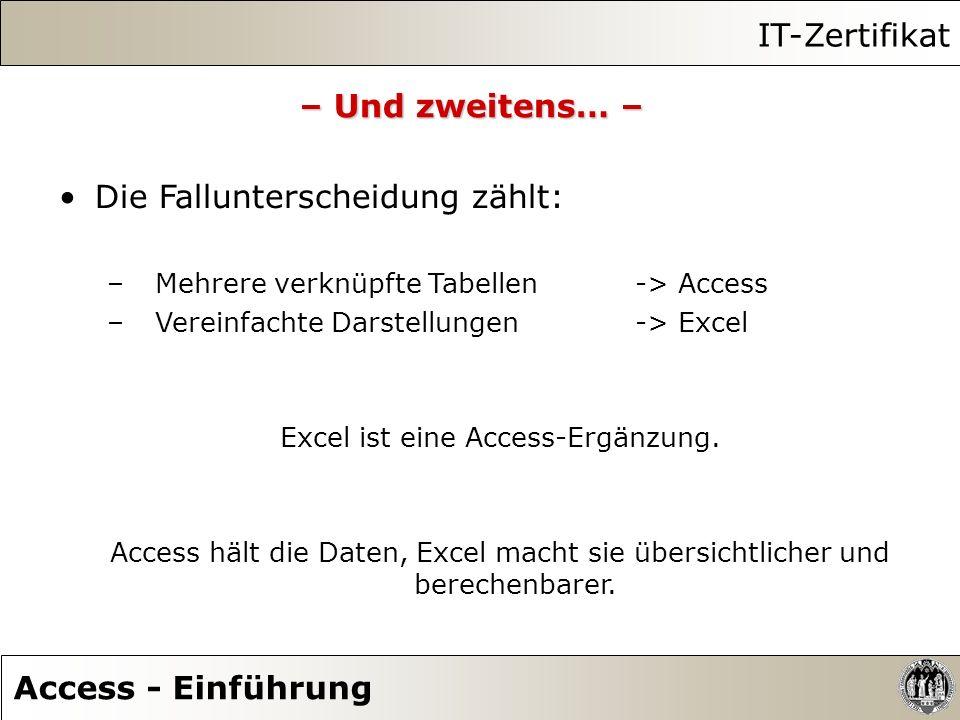 Excel ist eine Access-Ergänzung.