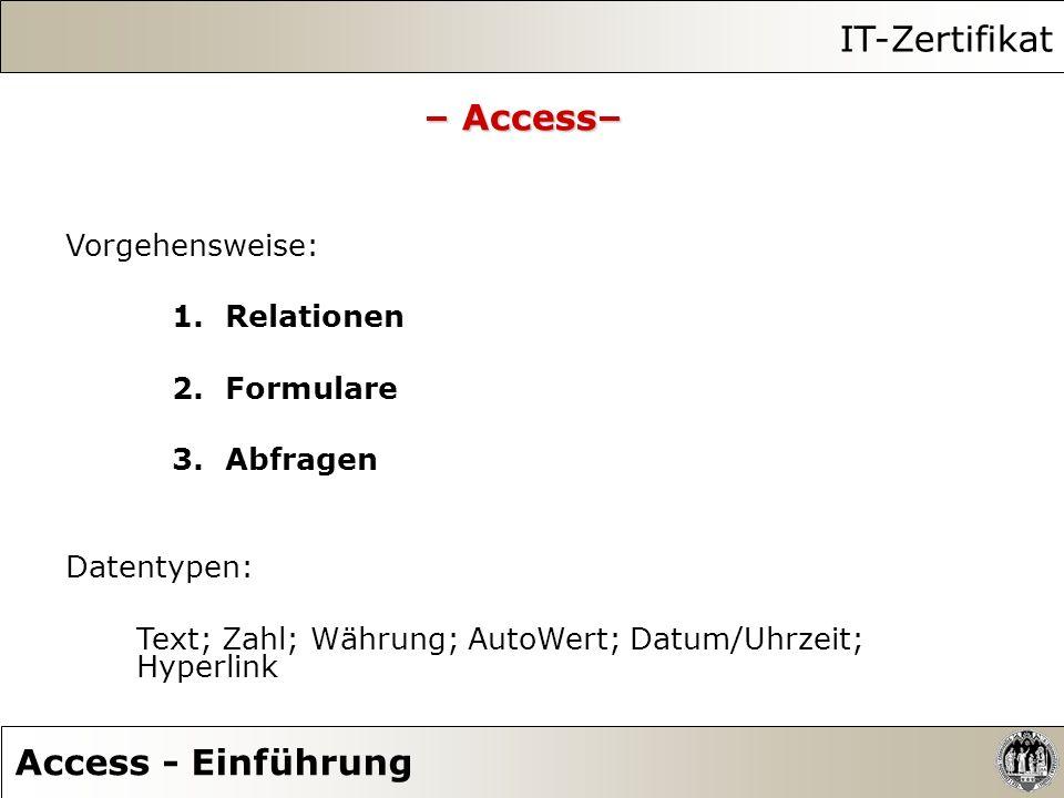 IT-Zertifikat – Access– Access - Einführung Vorgehensweise: Relationen