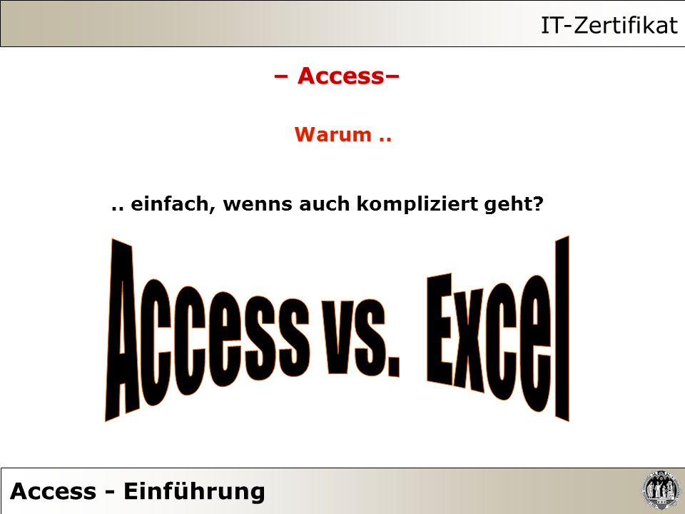 Access vs. Excel IT-Zertifikat – Access– Access - Einführung Warum ..