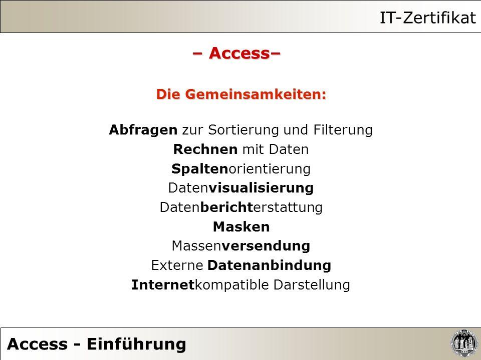 IT-Zertifikat – Access– Access - Einführung Die Gemeinsamkeiten: