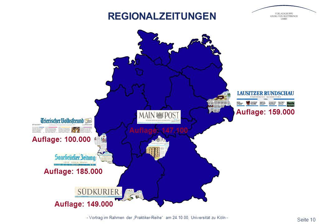 REGIONALZEITUNGEN Auflage: 159.000 Auflage: 147.100 Auflage: 100.000