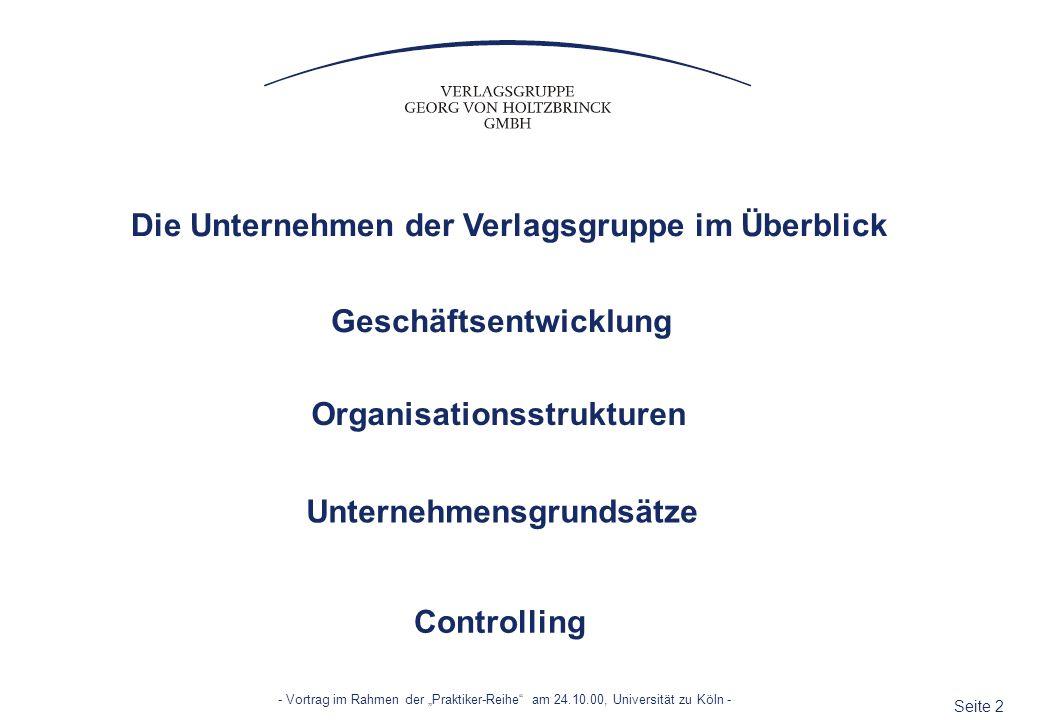 Die Unternehmen der Verlagsgruppe im Überblick