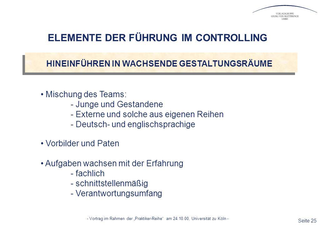 ELEMENTE DER FÜHRUNG IM CONTROLLING