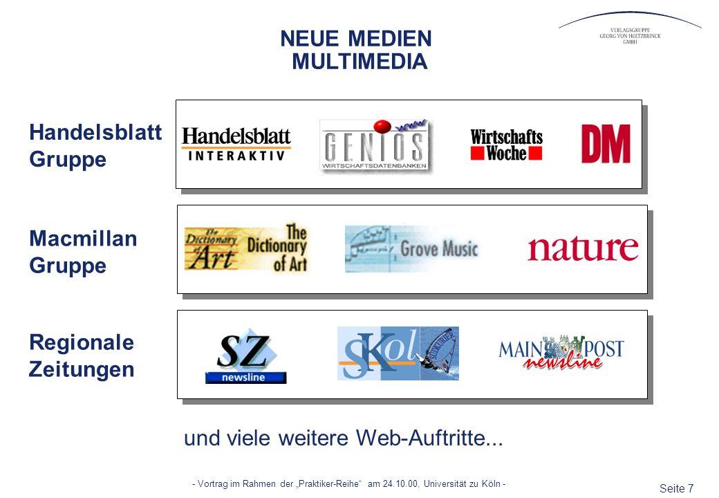 NEUE MEDIEN MULTIMEDIA. Handelsblatt Gruppe. Macmillan Gruppe.
