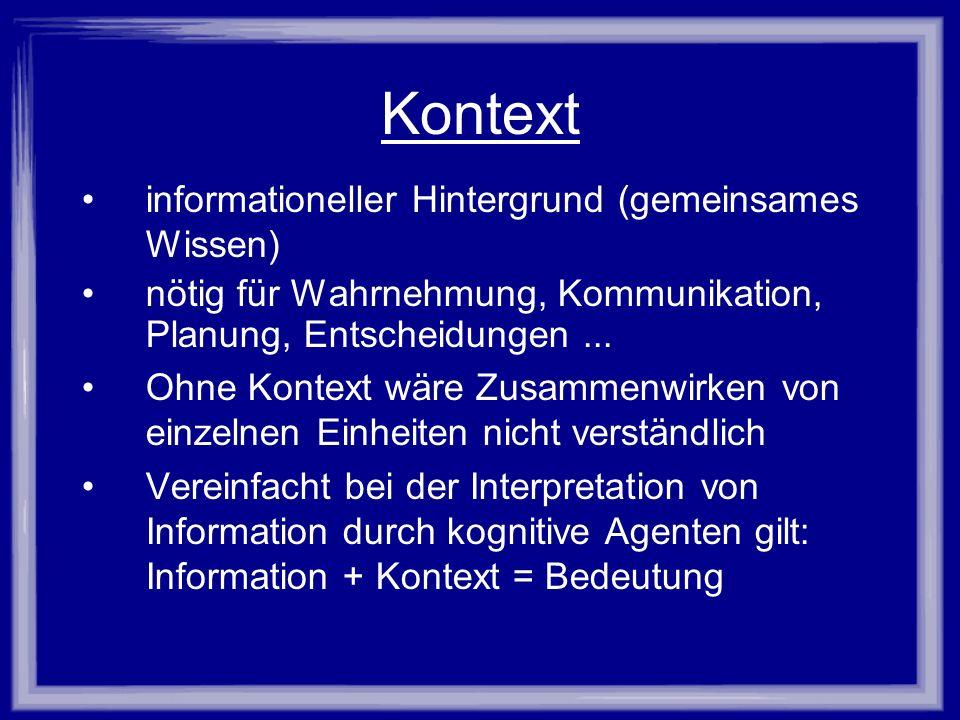 Kontext informationeller Hintergrund (gemeinsames Wissen)