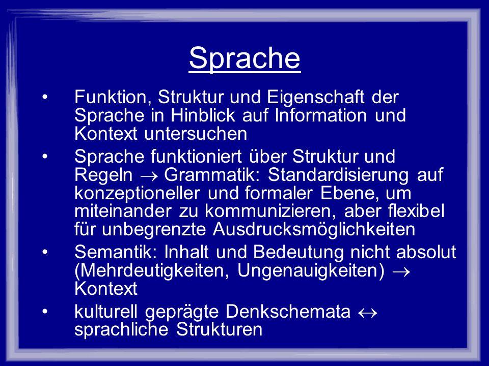 Sprache Funktion, Struktur und Eigenschaft der Sprache in Hinblick auf Information und Kontext untersuchen.
