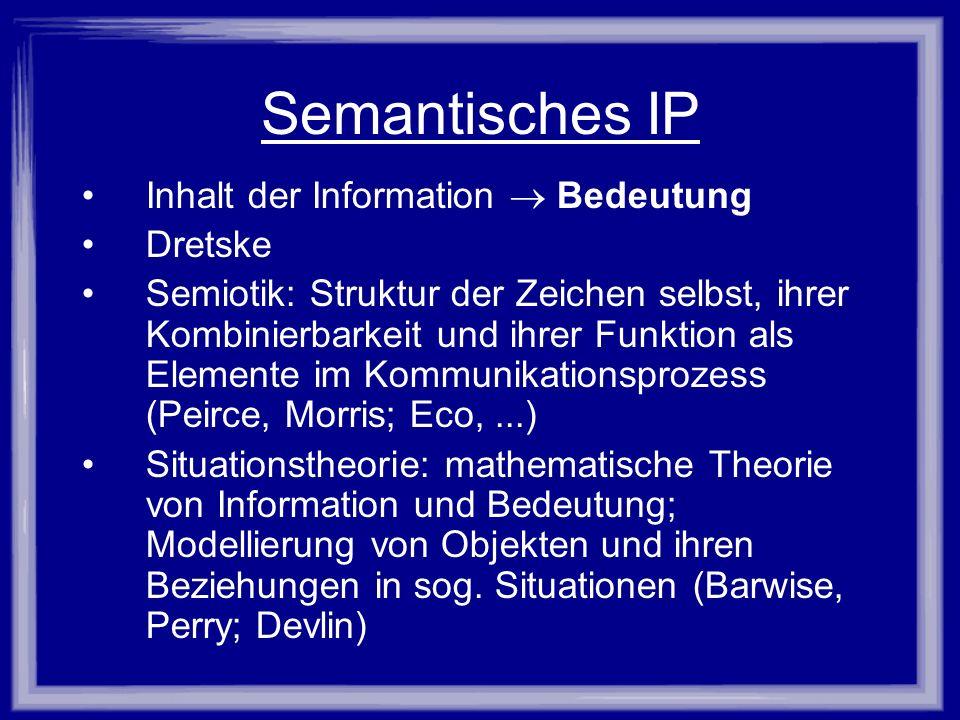 Semantisches IP Inhalt der Information  Bedeutung Dretske