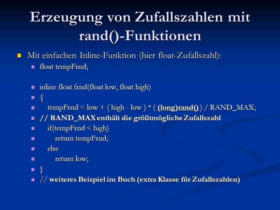 Erzeugung von Zufallszahlen mit rand()-Funktionen