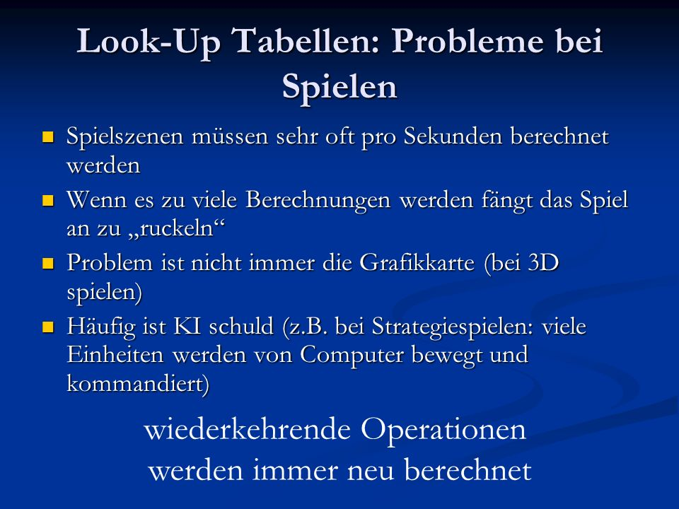 Look-Up Tabellen: Probleme bei Spielen