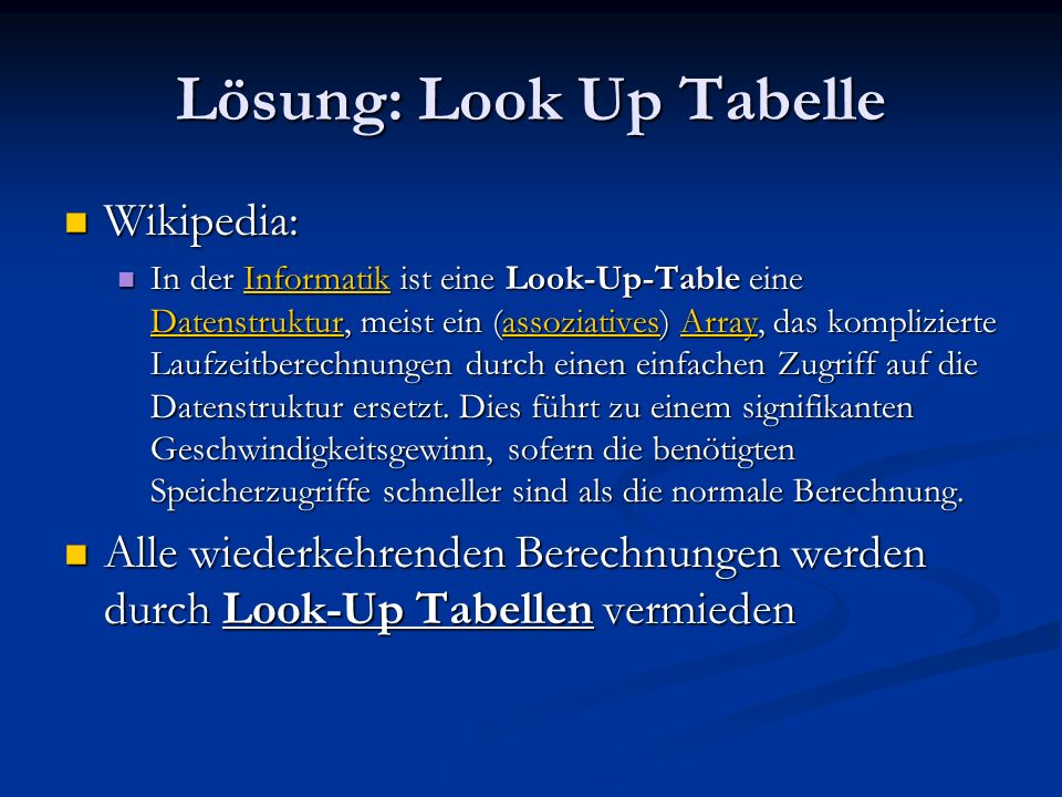 Lösung: Look Up Tabelle