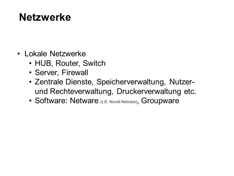 Netzwerke Lokale Netzwerke HUB, Router, Switch Server, Firewall