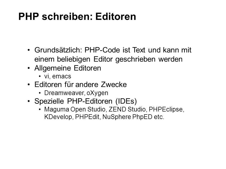 PHP schreiben: Editoren