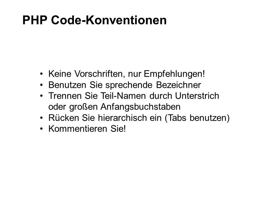 PHP Code-Konventionen