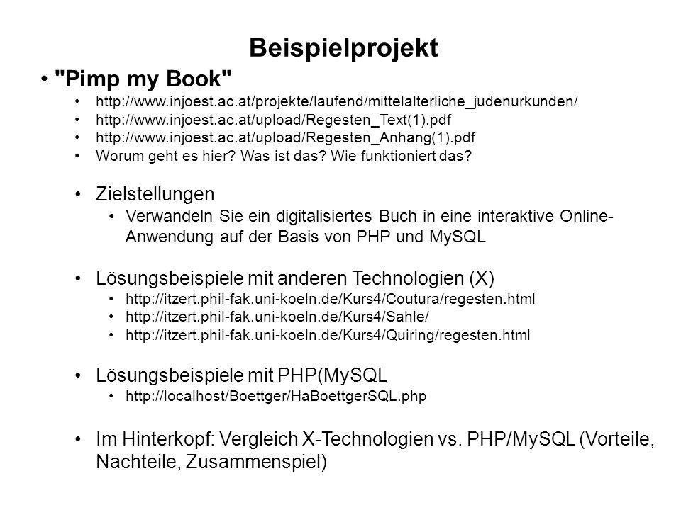 Beispielprojekt Pimp my Book Zielstellungen