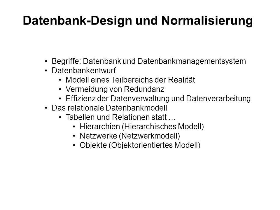 Datenbank-Design und Normalisierung