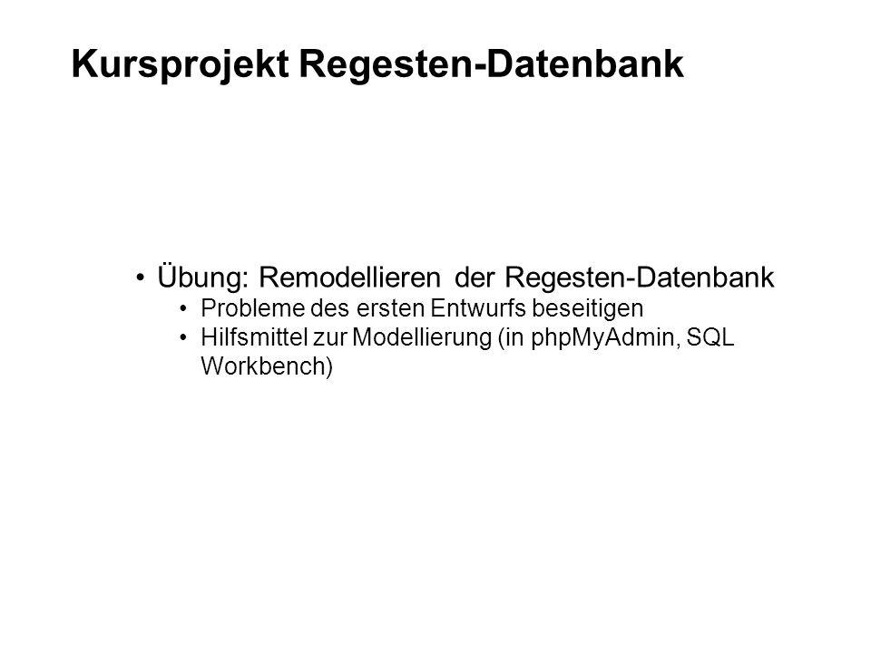 Kursprojekt Regesten-Datenbank