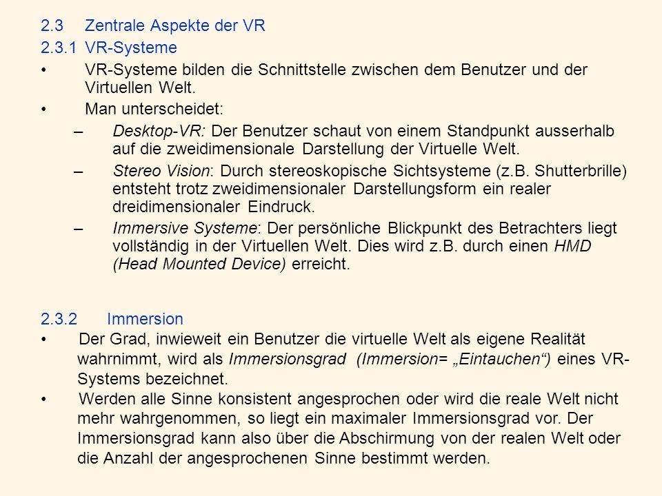2.3 Zentrale Aspekte der VR