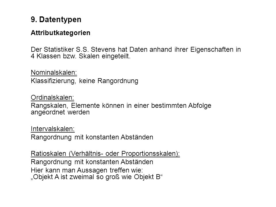9. Datentypen Attributkategorien