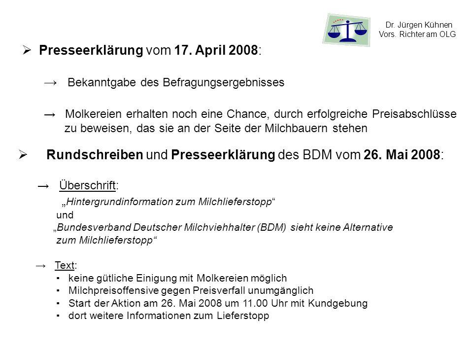 Presseerklärung vom 17. April 2008: