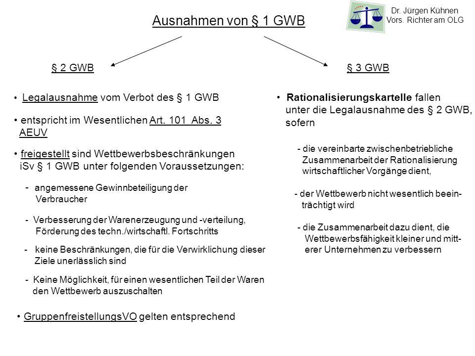 Ausnahmen von § 1 GWB § 2 GWB § 3 GWB Rationalisierungskartelle fallen