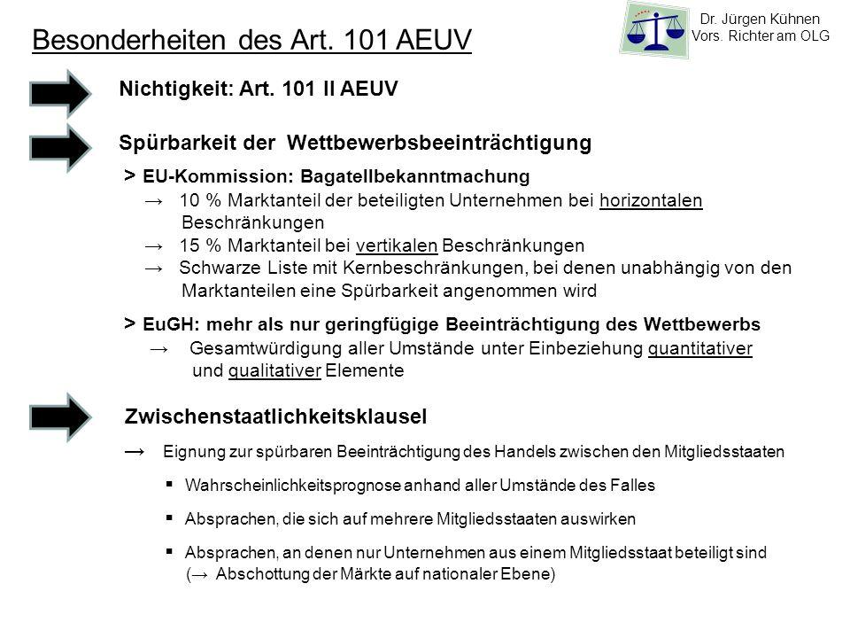 Besonderheiten des Art. 101 AEUV