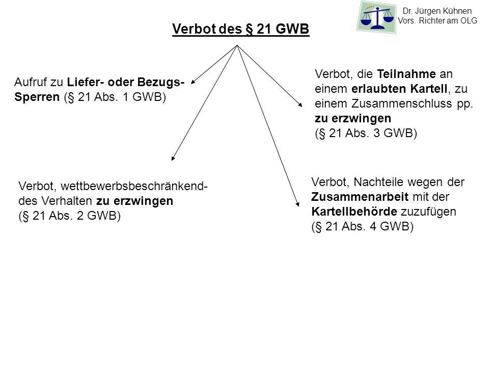 Verbot des § 21 GWB Verbot, die Teilnahme an