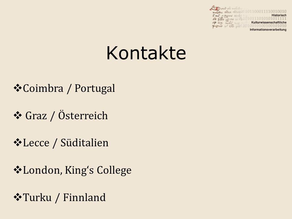 Kontakte Coimbra / Portugal Graz / Österreich Lecce / Süditalien