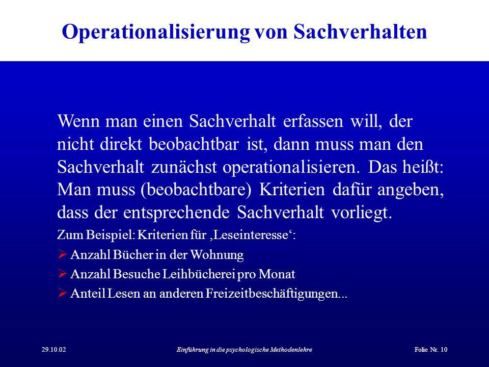 Operationalisierung von Sachverhalten