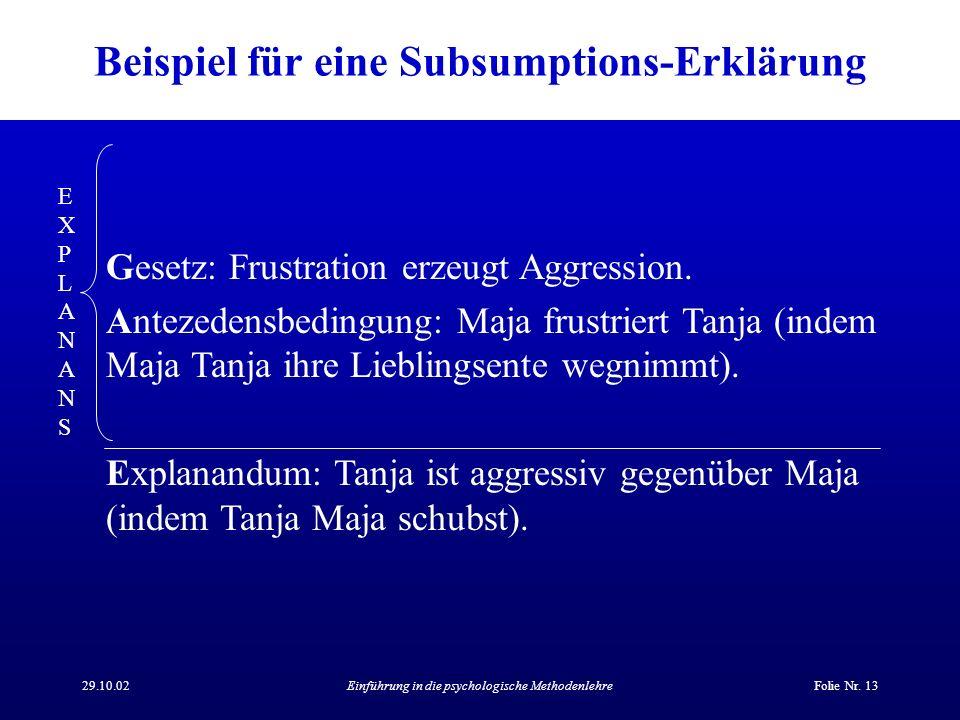 Beispiel für eine Subsumptions-Erklärung