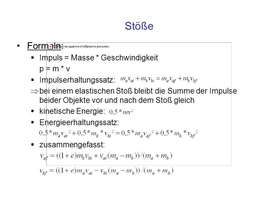 Stöße Formeln: Impuls = Masse * Geschwindigkeit p = m * v