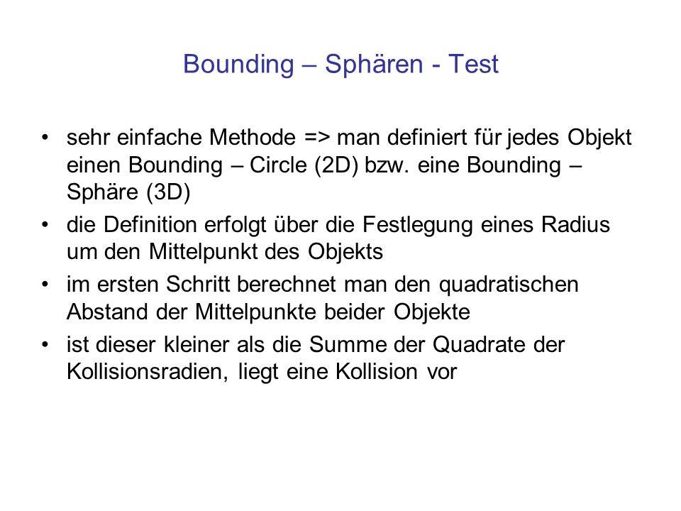 Bounding – Sphären - Test