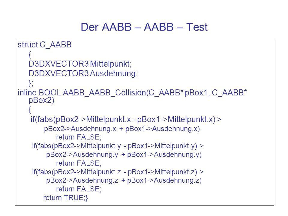 Der AABB – AABB – Test struct C_AABB { D3DXVECTOR3 Mittelpunkt;