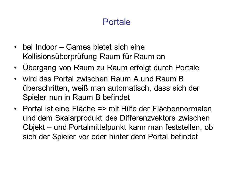 Portale bei Indoor – Games bietet sich eine Kollisionsüberprüfung Raum für Raum an. Übergang von Raum zu Raum erfolgt durch Portale.